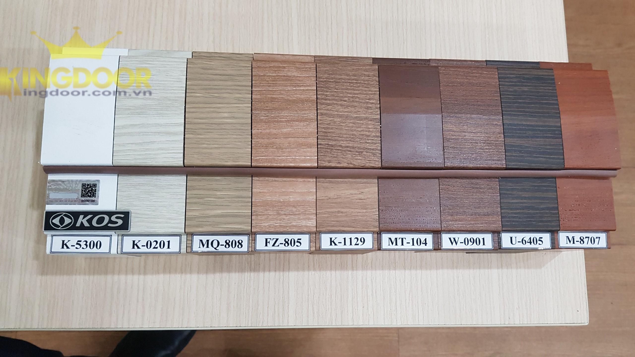 Bảng màu của cửa nhựa ABS Hàn Quốc.