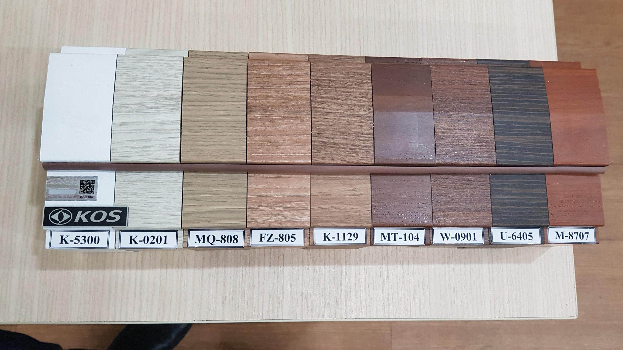 Bảng màu cửa nhựa ABS Hàn Quốc chính hãng.