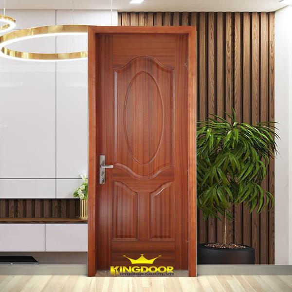 Mẫu cửa gỗ công nghiệp HDF Veneer màu xoan đào.