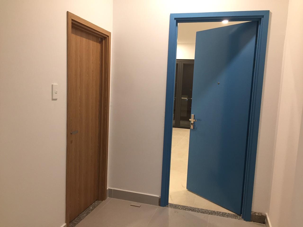 Mẫu cửa nhựa Composite sơn PU xanh.